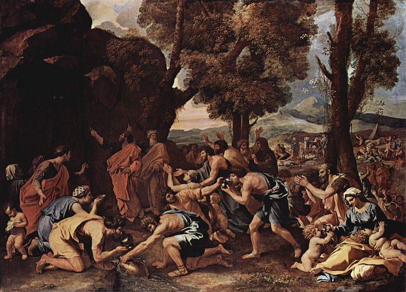 משה מכה בסלע|איור: Nicolas Poussin ויקיפדיה