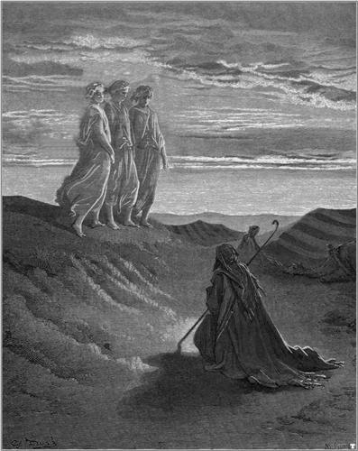 עוד ניסיון. אברהם והמלאכים|איור: גוסטב דורה